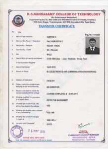 Electronic communication engineering college transfer certificate